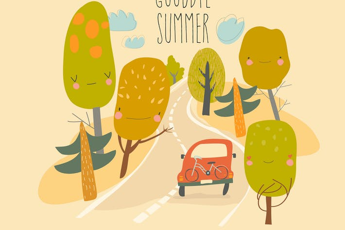 Thumbnail for Car is driving on the road through summer forest.