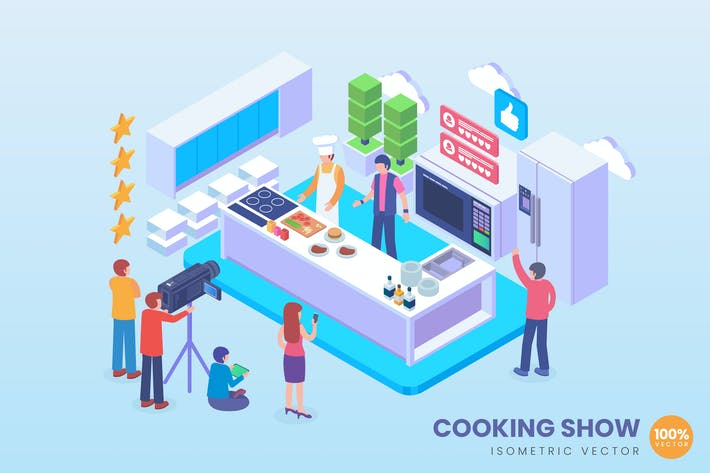 Thumbnail for Isometric Live Cooking Show Vector Concept