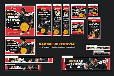 Rap Music Festival Banners Ad