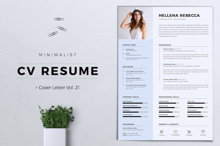 Thumbnail for Minimalist CV Resume Vol. 21
