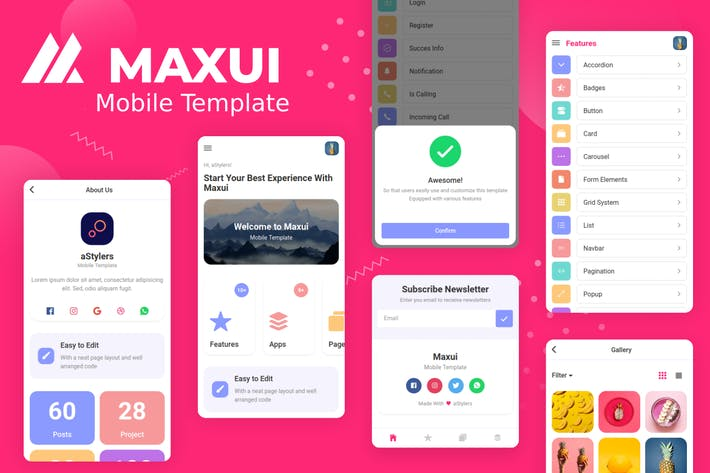 Thumbnail for Maxui - Mobile Template UI Kit