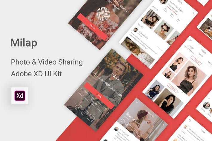 Thumbnail for Milap - Photo & Video Sharing UI Kit for Adobe XD