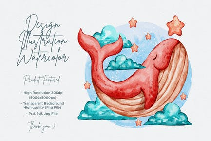 cute whale design illustration with watercolor