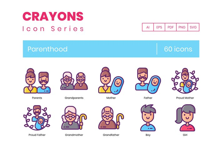 Thumbnail for 60 Parenthood Icons - Crayons Series