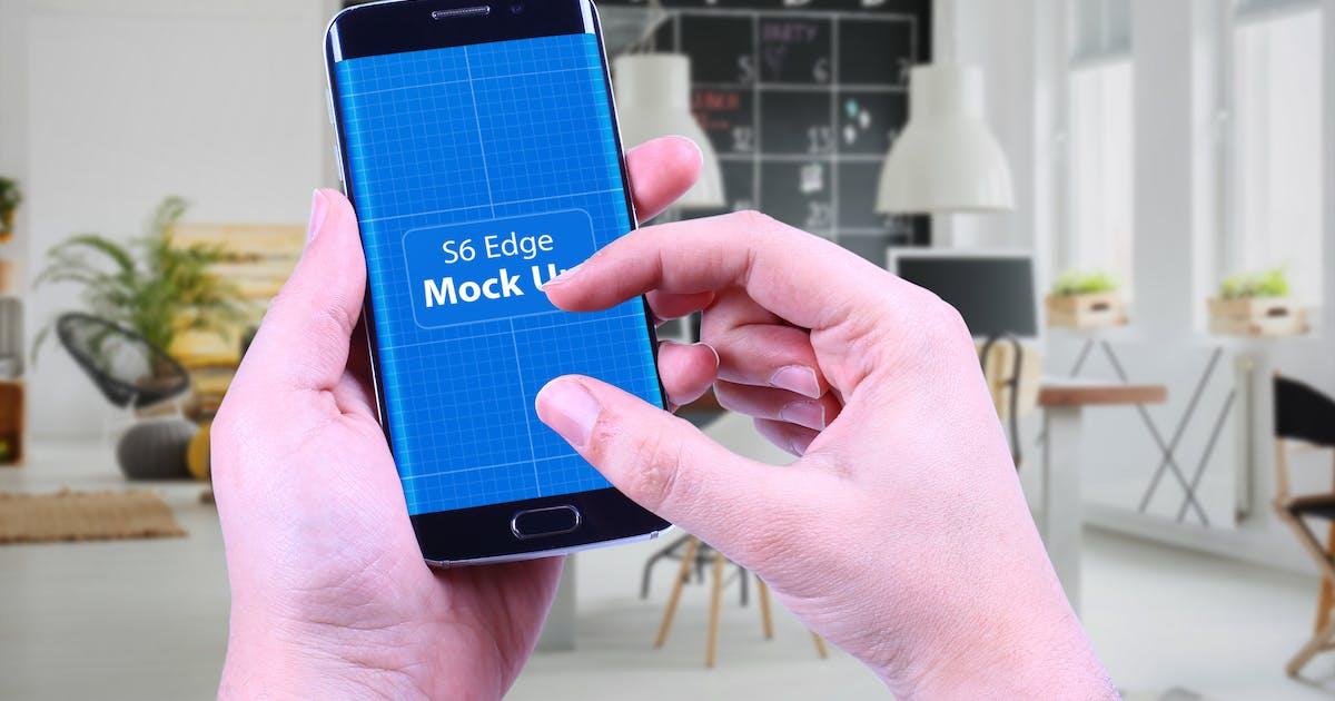 Download S6 Edge in Hand Mock Up by QalebStudio