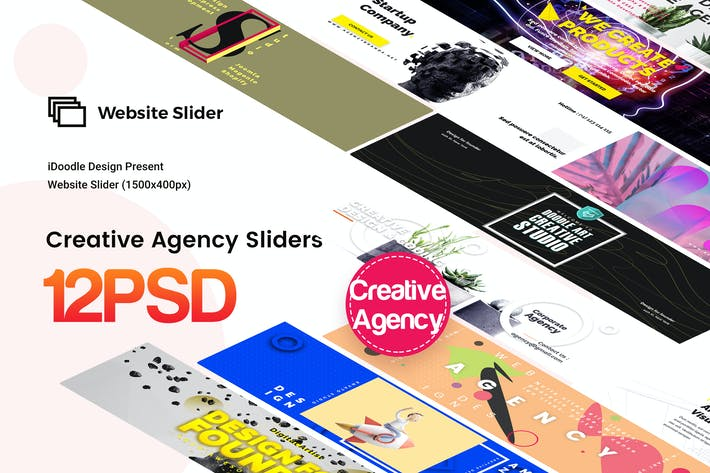 Thumbnail for Creative Agency Website Sliders - 12 PSD