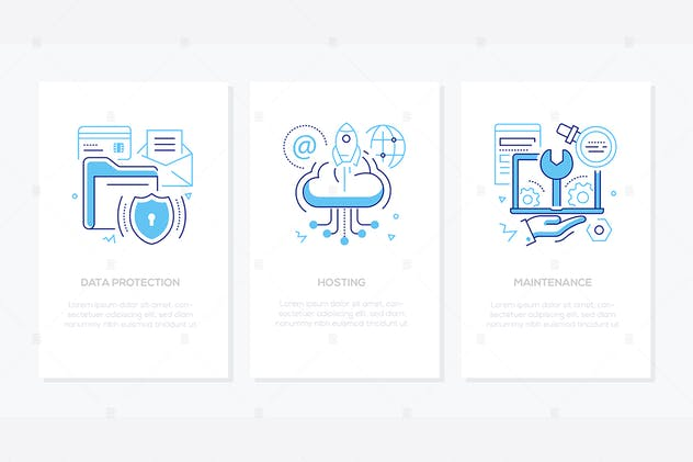 Data protection - line design style banners