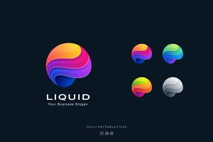 Liquid Sphere Abstract Colorful Logo Template