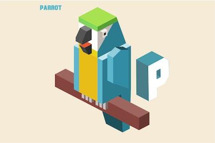 P für Papagei. Tier-Alphabet