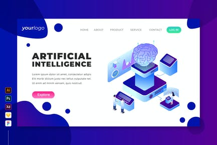 Artificial Intelligence - Isometric Landing Page