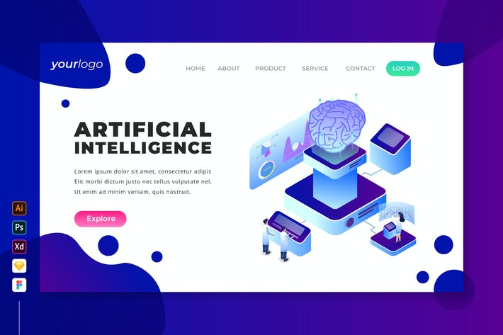Thumbnail for Artificial Intelligence - Isometric Landing Page