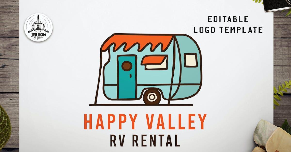 Download Camper RV Label Template. Camping Emblem Design by JeksonJS