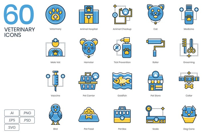 Thumbnail for 60 Veterinary Icons | Kinetic Series