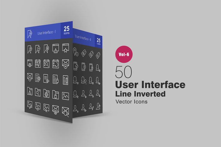 50 User Interface Line Inverted Icons