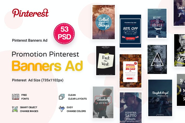Thumbnail for Pinterest Pack Banners Ad - 53 PSD
