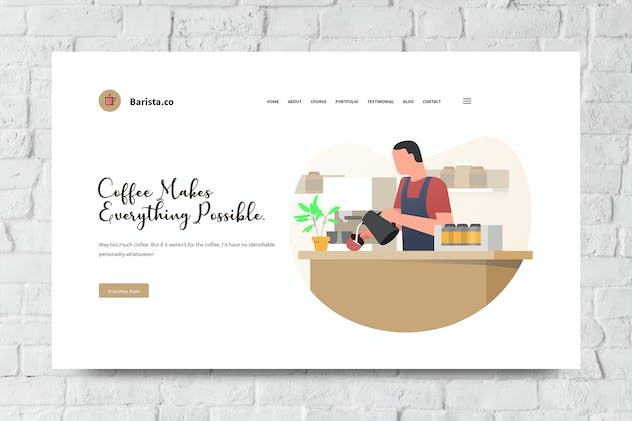 Barista Web Header PSD and Vector Template