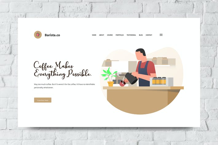 Thumbnail for Barista Web Header PSD and Vector Template