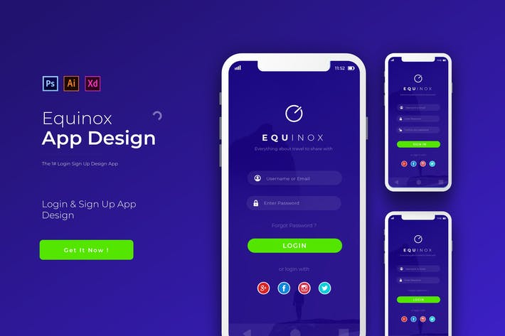 Thumbnail for Equinox Login | App Design-Vorlage