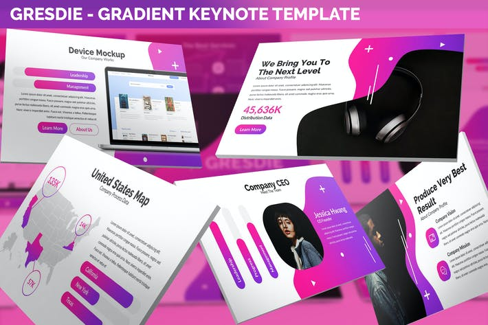 Thumbnail for Gresdie - Gradient Abstract Keynote Template