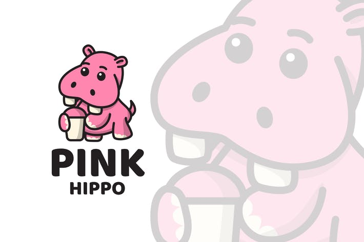 Thumbnail for Pink Hippo Cute Logo Template