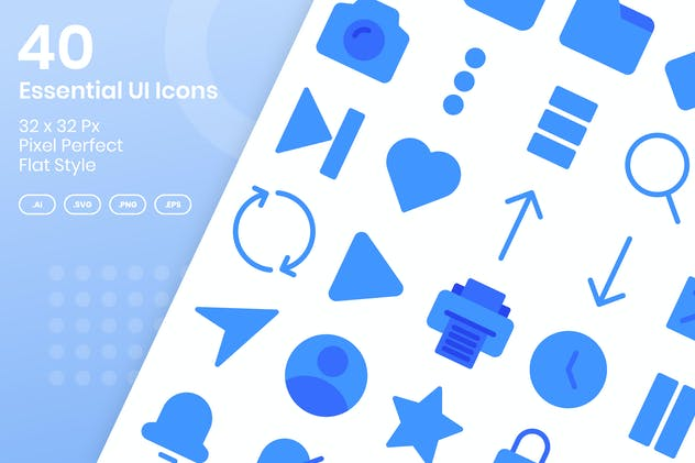 40 Essential UI Icons Set - Glyph