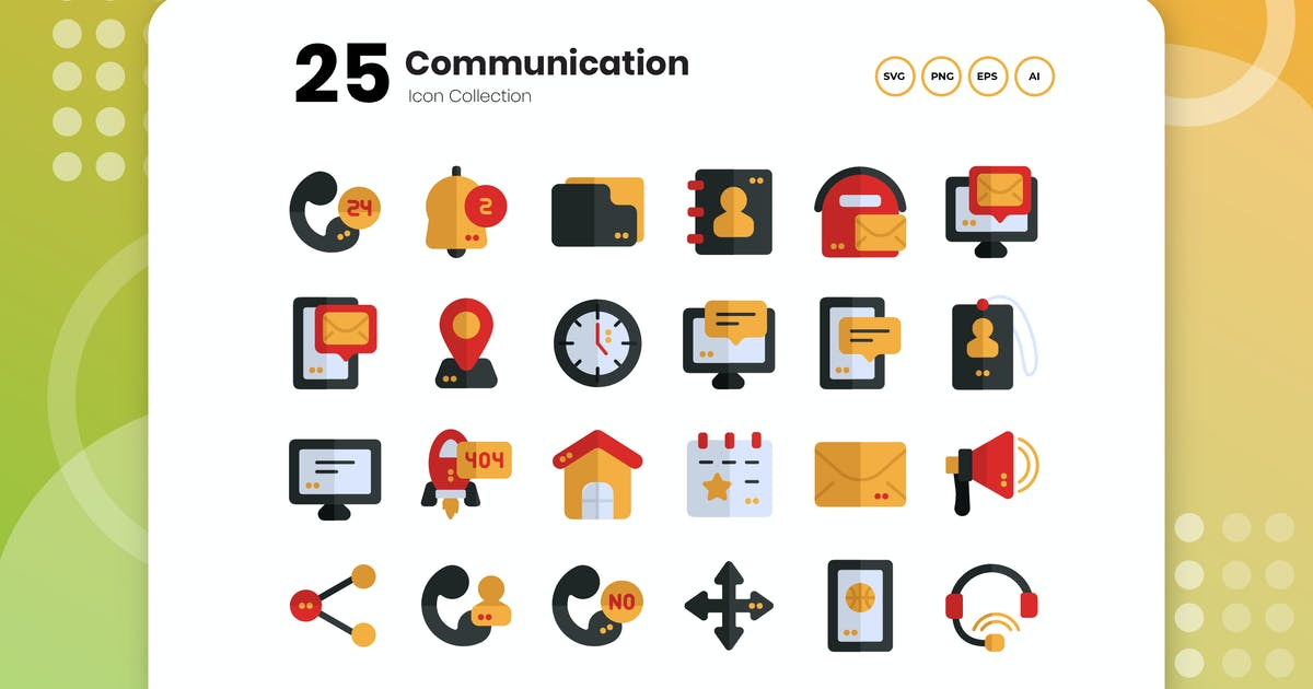 Download 25 Communication Flat Icon by vectorclans