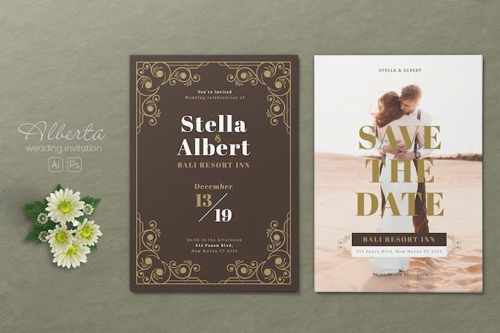 Thumbnail for Minimalist Wedding AI and PSD Invitation Vol.14