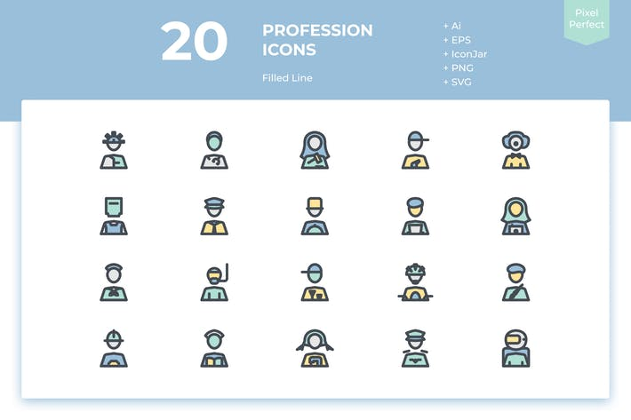 Thumbnail for 20 Profession Icons (Filled Line)