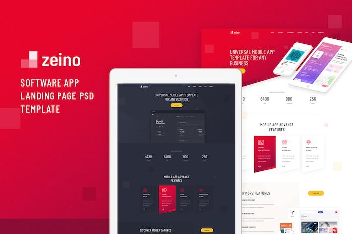 Thumbnail for Zeino - Software App Landing Page PSD Template