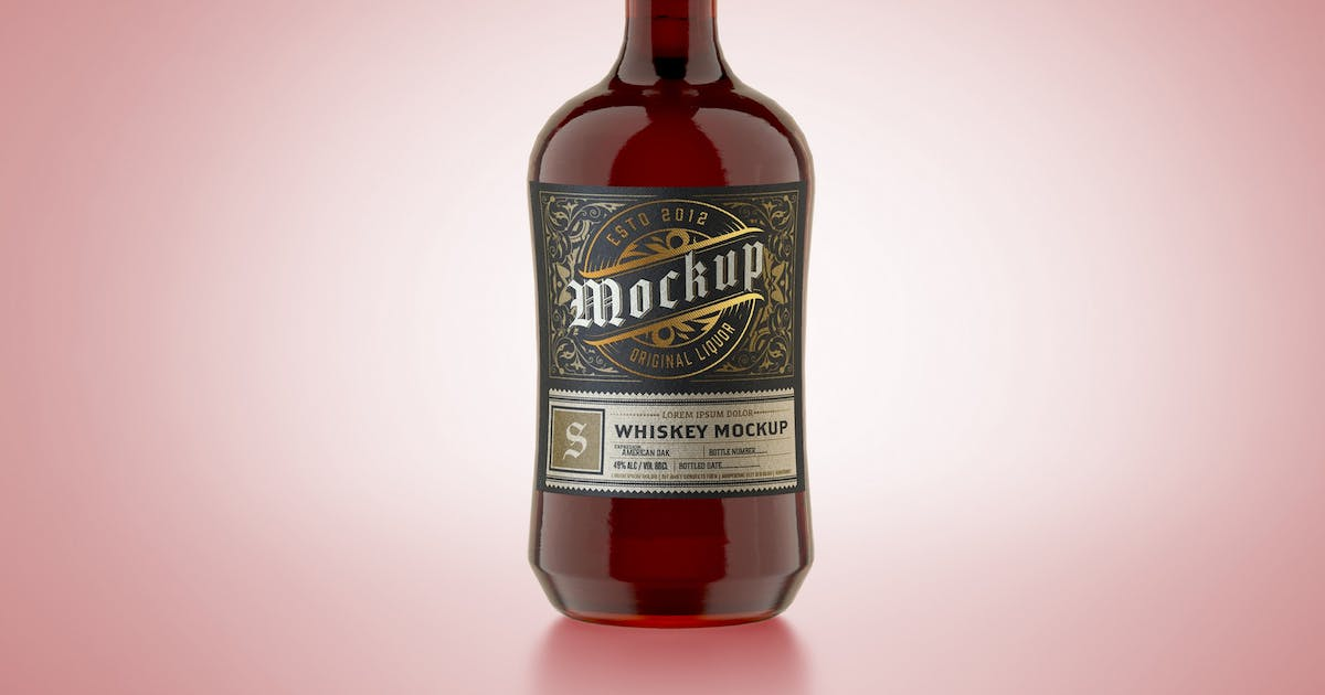 Download Colorfull Liquor Glass Bottle Mockup by roverto007