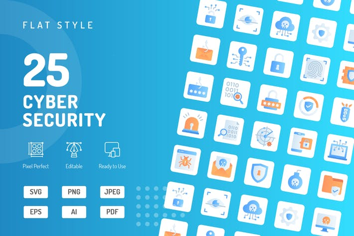 Cyber Security Flat Icons