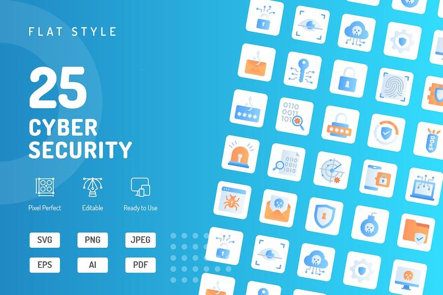 Flache Icons für Cyber-Sicherheit