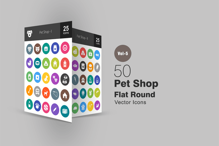 Thumbnail for 50 Pet Shop Flat Round Icons
