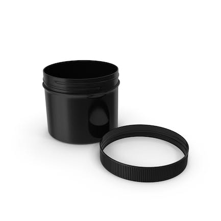 Plastic Jar Wide Mouth Straight Sided Short 32oz Cap Laying Black