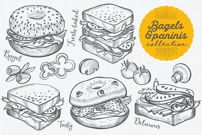 Thumbnail for Bagels And Paninis Hand-Drawn Graphic