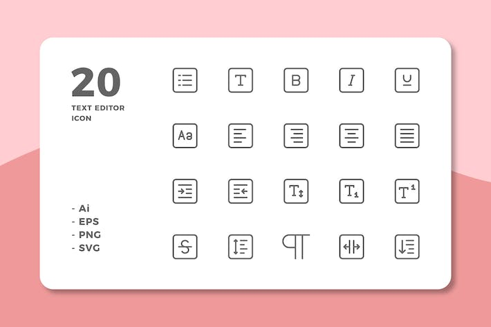 Thumbnail for 20 Text Editor Icons (Line)