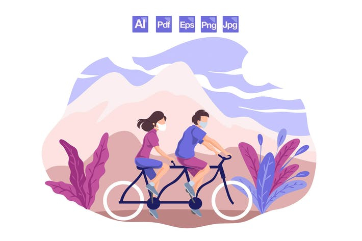 Cover Image For Couple Riding Bicycles - vector