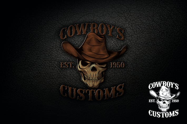 Thumbnail for Skull Cowboy Logo