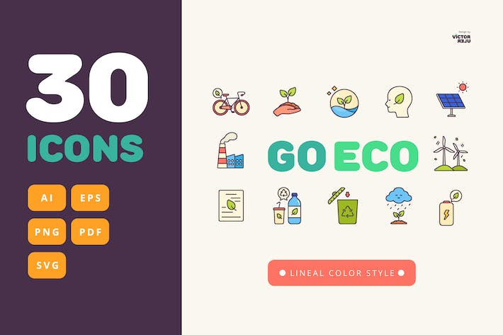 Thumbnail for 30 Go Eco Lineal Color Style Icons Pack