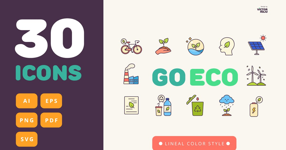 Download 30 Go Eco Lineal Color Style Icons Pack by Victoruler