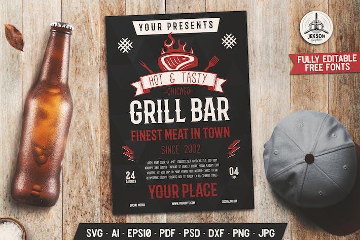 Thumbnail for Barre de Grill dépliant Modèle d'affiche pour barbecue d'été