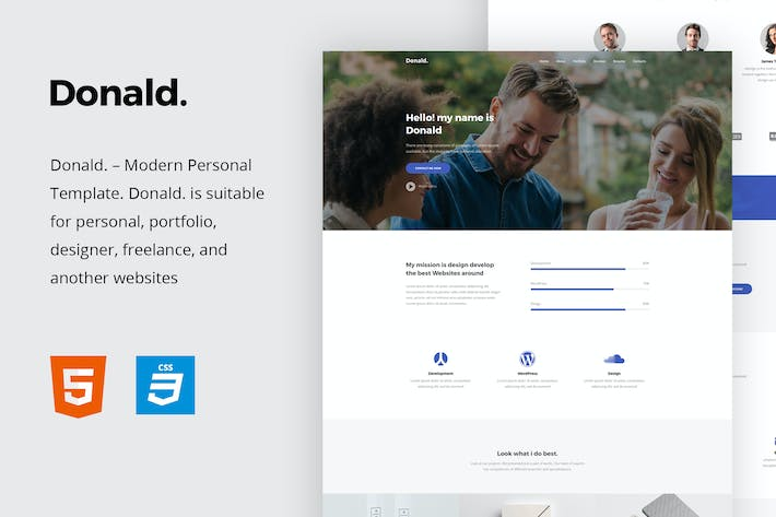 Thumbnail for Donald - Personal Onepage HTML Template