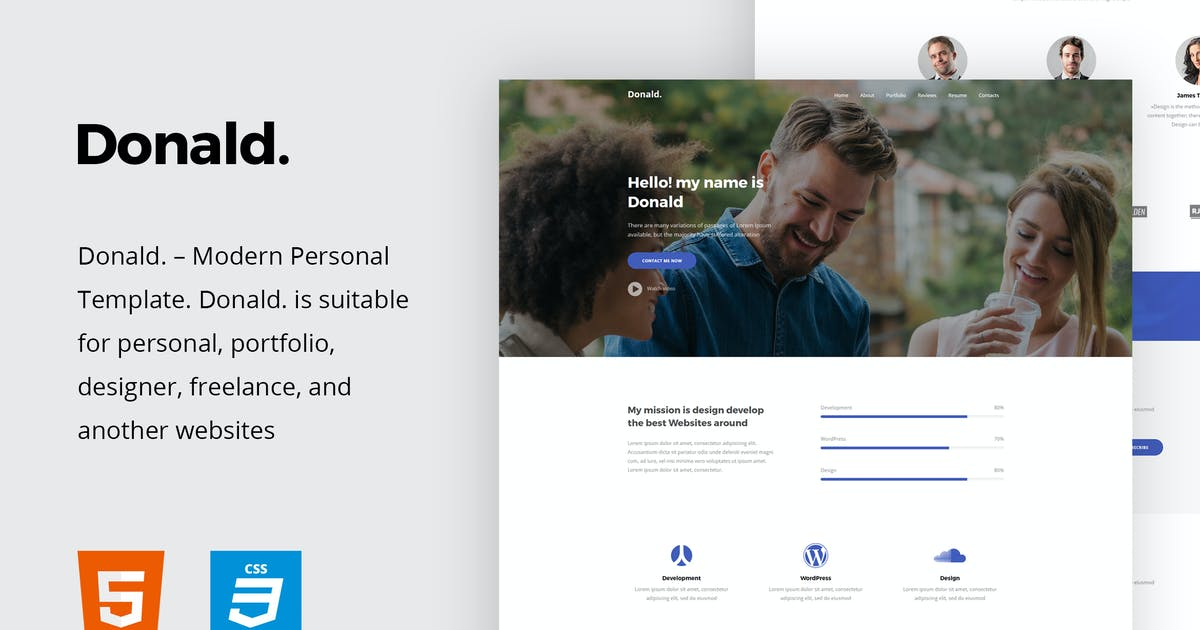 Download Donald - Personal Onepage HTML Template by paul_tf