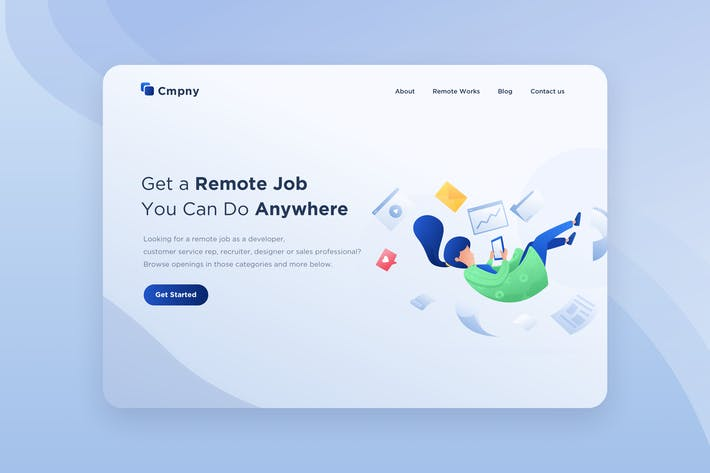 Thumbnail for Remote Job Illustration - Website Header