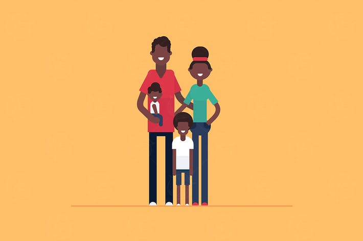 Thumbnail for Happy African family - vector ilustration
