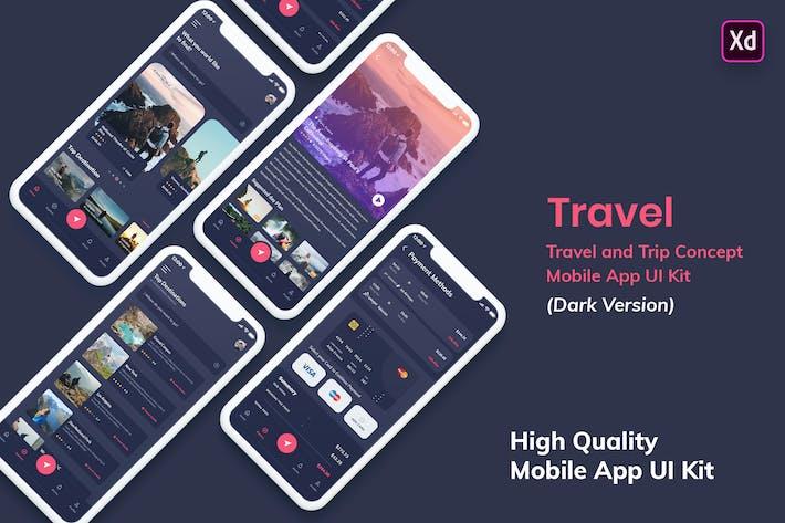 Thumbnail for Tour & Travel MobileApp UI Kit Dark Version (XD)