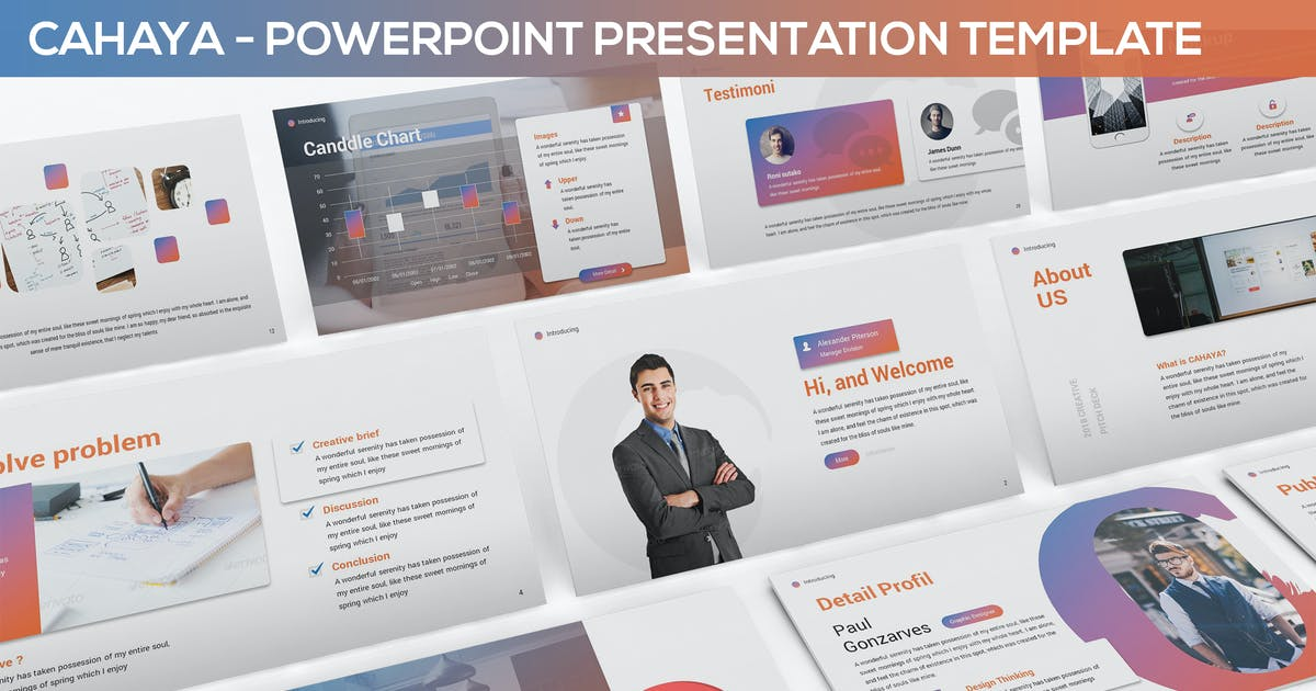 Download Cahaya -  Duotone Powerpoint Template by SlideFactory
