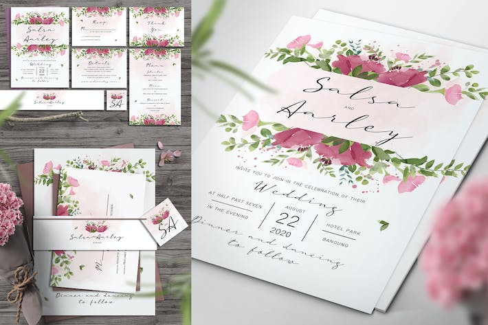 Thumbnail for Pink Rose Wedding Invitation