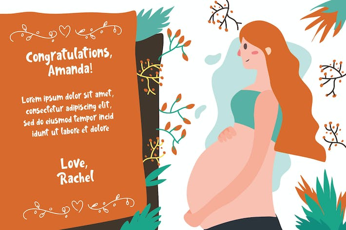 Thumbnail for Pregnancy Post Card - Vector Illustration