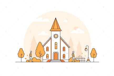 Small church - thin line design style illustration